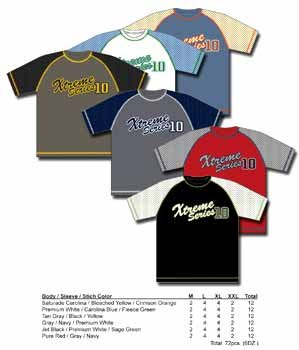 Wholesale Mens Raglon Mesh Sleeve Graphic Sport Short Sleeve