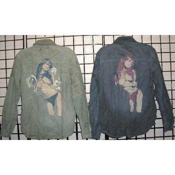 Wholesale Z BRAND Vintage destructed men's long sleeve shirt