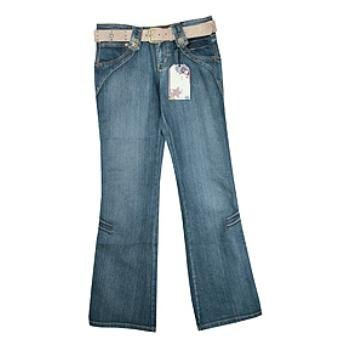 Wholesale CREST: Jr Plus Denim Belted Western Jean