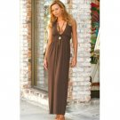 Wholesale Brushed Rayon Long Deep-V Halter Dress w/ Smocking