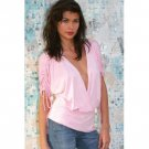 Wholesale Brushed Rayon Gathered Sleeve Surplice SideTie Top