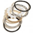 NWT GUESS Gold & Black Tones Mixed With Faux White Pearls 6-Piece Bracelet Set