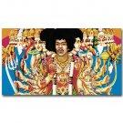 Jimi Hendrix Rock Music Star Poster Psychedelic Trippy Art 32x24