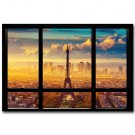 Sunrise Paris Effie Tower Window View Poster 32x24