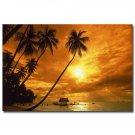 Fantasy Sunset Palm Tree Skyline Nature Fabric Poster 32x24