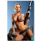 Hot Sexy Model Lady With Gun Art Poster Print 32x24