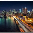 New York City Night Poster Brooklyn Bridge 32x24