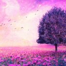 Violet Birds Trees Landscape Print POSTER 32x24
