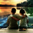 Children Lake Sunset Love Positive Art Print POSTER 32x24