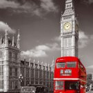 Red London Bus With Big Ben Cityscape Wall Print POSTER Decor 32x24
