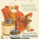 Vintage Edgeworth Santa Claus Cigarette Smoking Ad Art Print 32x24