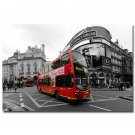 Piccadilly Circus And Red Bus Poster London City Black White 32x24