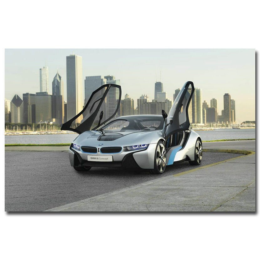 BMW I8 Black Concept Supercar Art Poster Picture 32x24