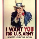 Wwii I Want You For Us Army War Propoganda Poster Art Print 32x24