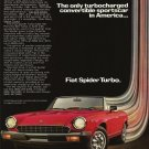 Vintage Fiat Spider Turbo Car Ad Art Print 32x24