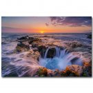 Hawaii Ocean Sea Waves Sunset Skyline Nature Art Poster 32x24