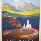 Vintage French Lourdes Travel Poster Print 32x24