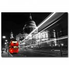 Red London Bus City Night Landscape Art Poster Pictures 32x24