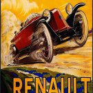 Vintage French Renault Cart Ad Poster Print 32x24