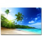 Sunshine Tropical Sea Beach Sky Nature Poster Palm Tree 32x24