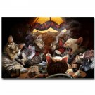 Cats Playing Poker Funny Art Poster Print Home Wall Decor 32x24