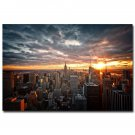 Morning Sunrise New York City Skyline Clouds Art Poster 32x24