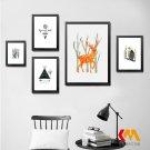 Summer Forest Abstract Minimalist Art Canvas Poster Deer Bird Tree 32x24