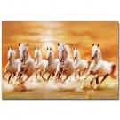 White Horses Galloping Sunset Landscape Poster 32x24