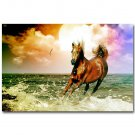 White Horses Galloping Sunset Beach Landscape Poster 32x24