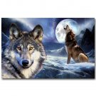 Wild Animals Wolf Full Moon Landscape Poster 32x24