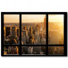New York City Morning Sunrise Window View Cityscape Poster 32x24