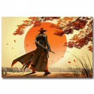 Cool Japanese Samurai Fabric Poster Art Print Combat Warrior 32x24