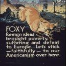Wwii Foxy Foreign Ideas War Propoganda Poster Art Print 32x24