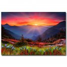 Morning Sunrise Mountains And Flowers Nature Art Poster 32x24