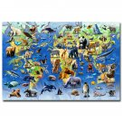 Animals World Map Educational Poster Children Room Decor 32x24