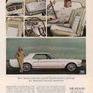 Vintage White Ford Mustang Car Ad Art Print 32x24