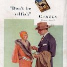 Vintage Camels Selfish Cigarette Smoking Ad Art Print 32x24