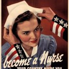 Wwii Becom E A Nurse War Propoganda Poster Art Print 32x24