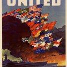 Wwii United Nations War Propoganda Poster Art Print 32x24