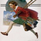 Norman Rockwell Girl Running With Wet Canvas Fine Art Print 32x24