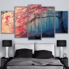 Large Framed Cherry Blossom Forest Trees Canvas Print Wall Art Home 5 Piece