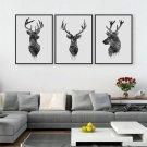 Large Framed Deer Buck Antler Canvas Print Wall Art Home 3 Piece
