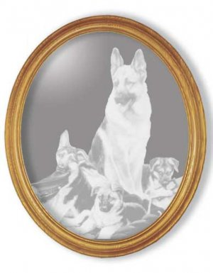 "15""x19"" Oval ""Rookies"" by Linda Picken German Shepherd Etched Mirror"