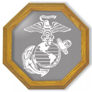 """20"""" United States Marines Emblem Etched Wall Mirror"""