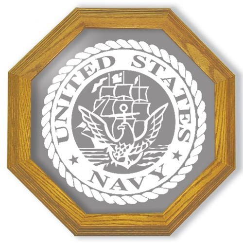 "20"" United States Navy Emblem Etched Wall Mirror"