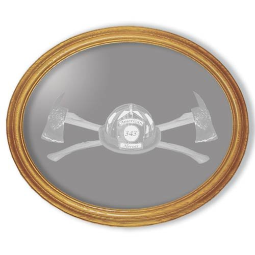 """19""""x23"""" Oval Axe 343 Firefighter's Etched Wall Mirror"""
