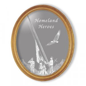 "19""x23"" Oval Homeland Heroes Etched Wall Mirror"