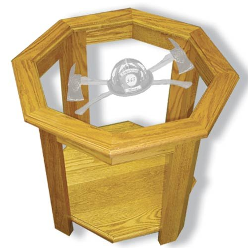 """22""""x22""""x20"""" tall Axe 343 Firefighter's Octagon End Table with Etched Glass"""
