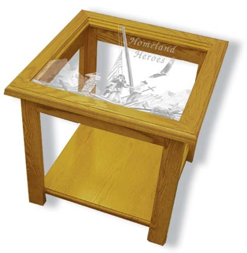 """22""""x22""""x20"""" tall Homeland Heroes square End Table with Etched Glass"""