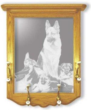 "22""x26"" ""Rookies"" by Linda Picken German Shepard Police Dog Coat Rack with Etched Mirror"